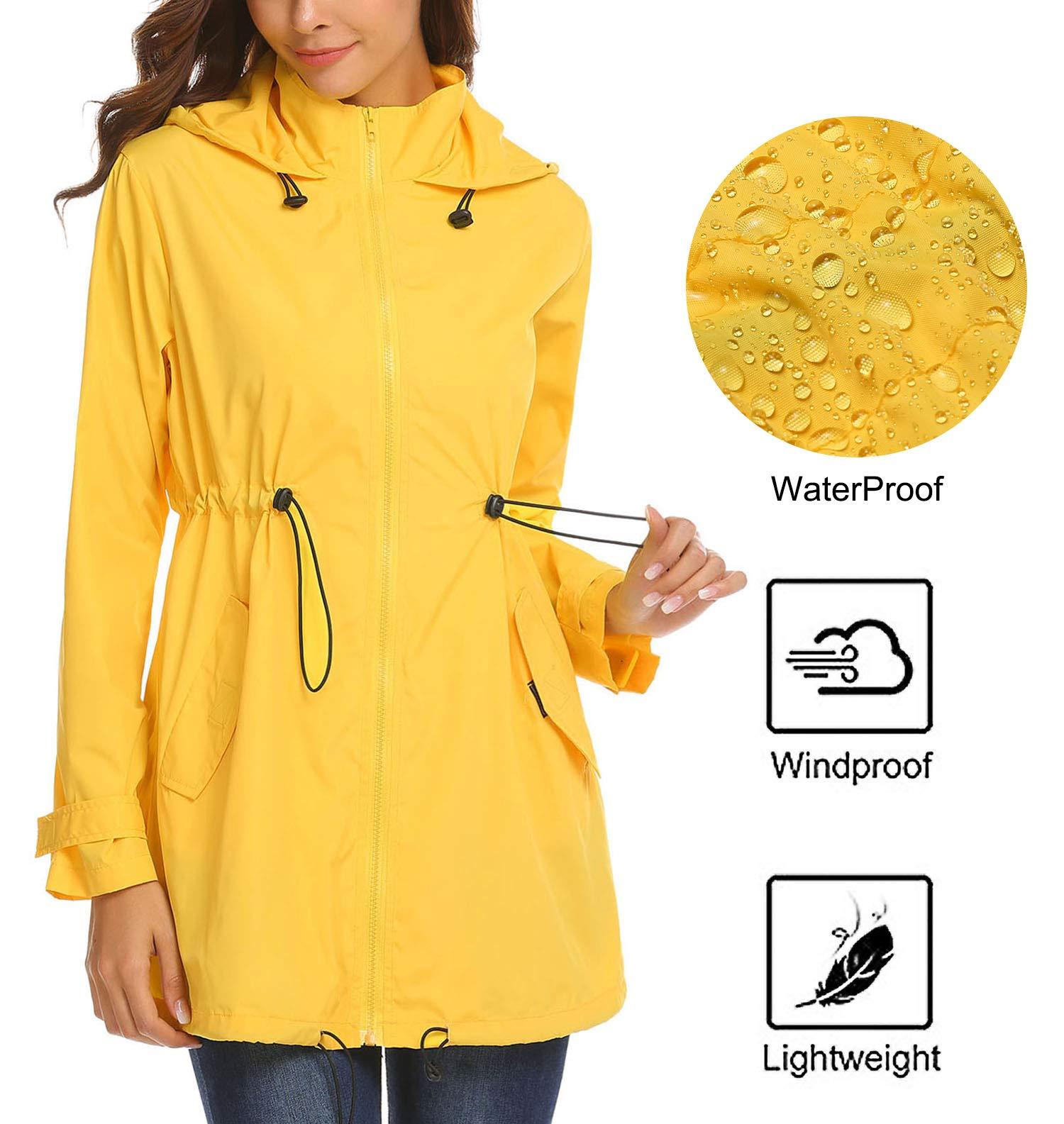 Mofavor Womens Travel Trench Waterproof Raincoat Hoodie Windproof Hiking Coat Packable Rain Jacket Yellow S