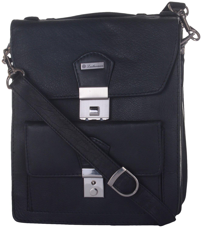 Leatherman Designs Men's Shoulder Pouch Bag One Size With Lock Black