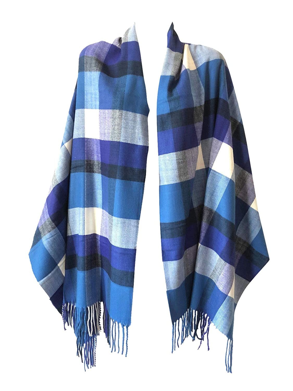 bluee Multi Mix Check Women Oversized Scottish Clan Tartan Plaid Cashmere Feel Shawl Wrap Winter Scarf