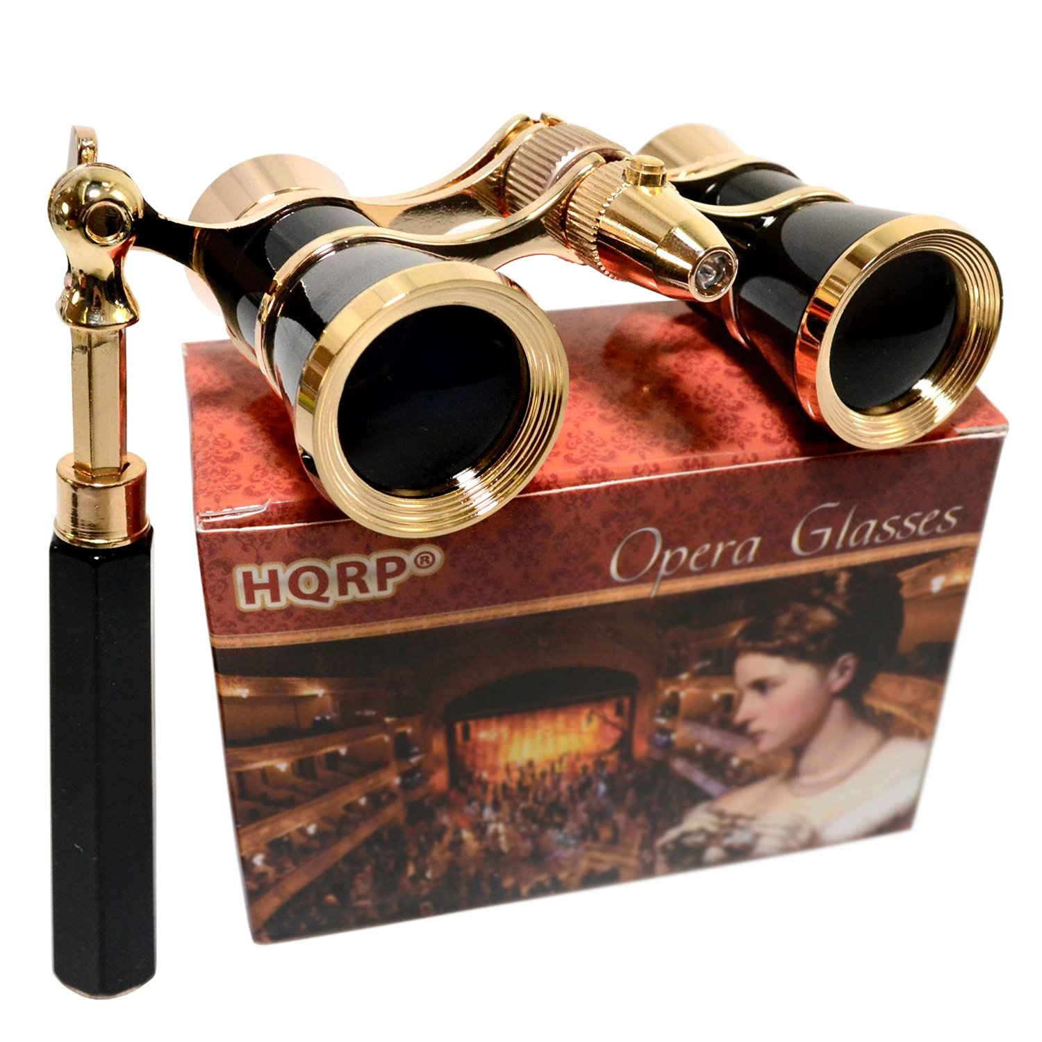 HQRP Opera Glasses s w/Crystal Clear Optic (CCO) 3 x 25 with Built-In Foldable Handle and Red Reading Light (Black with Gold)
