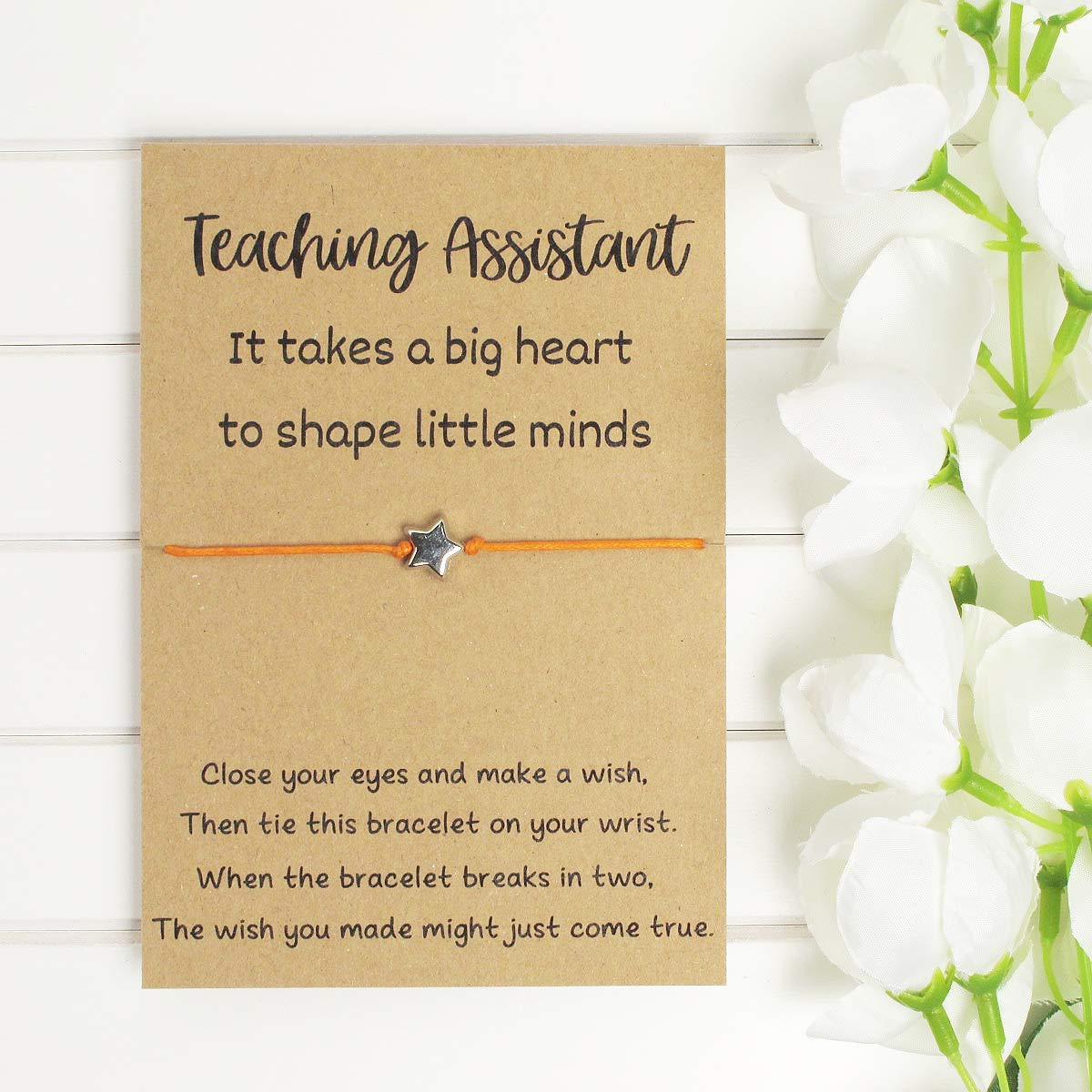 Teaching Assistant Wish Bracelet Christmas Gift End Of Term Thank You Gift Teacher Appreciation Card End Of Year Teacher Leaving Gift Amazon Co Uk Handmade