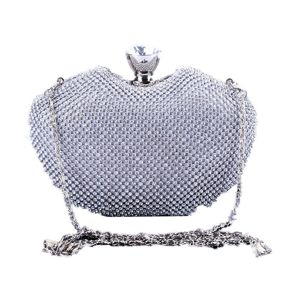 Xiaoqin Damen Abendtasche Abendtasche Abendtasche Handtasche Prom Tasche Geldbörse Sparkly Diamante Crystal Satin Handtasche Abend Hochzeit Handtasche Apple Form Clutch Handtasche Kosmetiktasche (Farbe   Silber) B07H2Q4NJC Clutches Wirtschaft b0c2d6