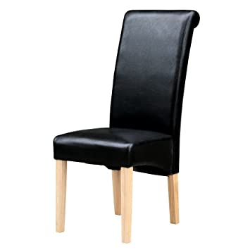 JTF   Furniture London Faux Leather Dining Chairs Black Set Of 2