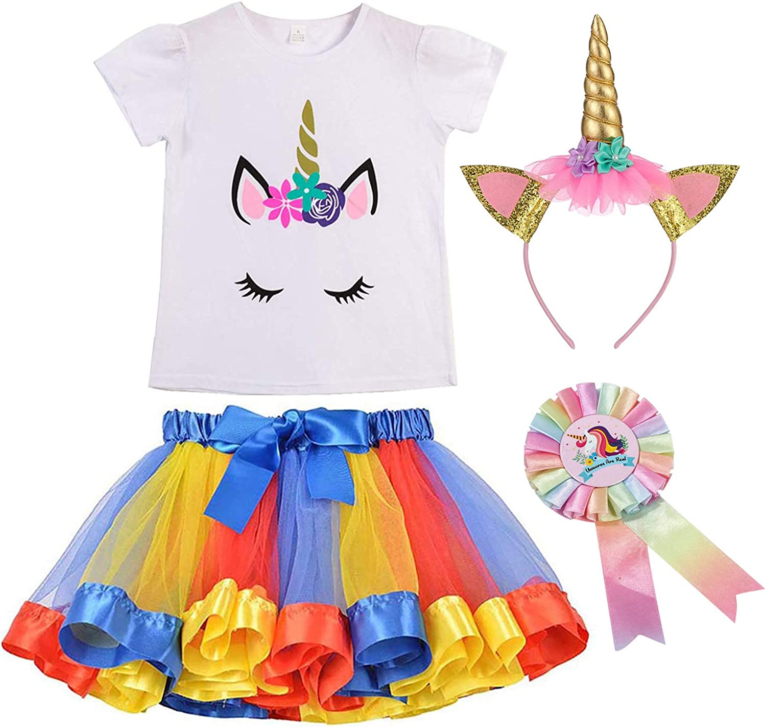LYLKD Little Girls Layered Rainbow Tutu Skirts with Unicorn Horn Headband and Hairbow Gold, L,4-8 Years