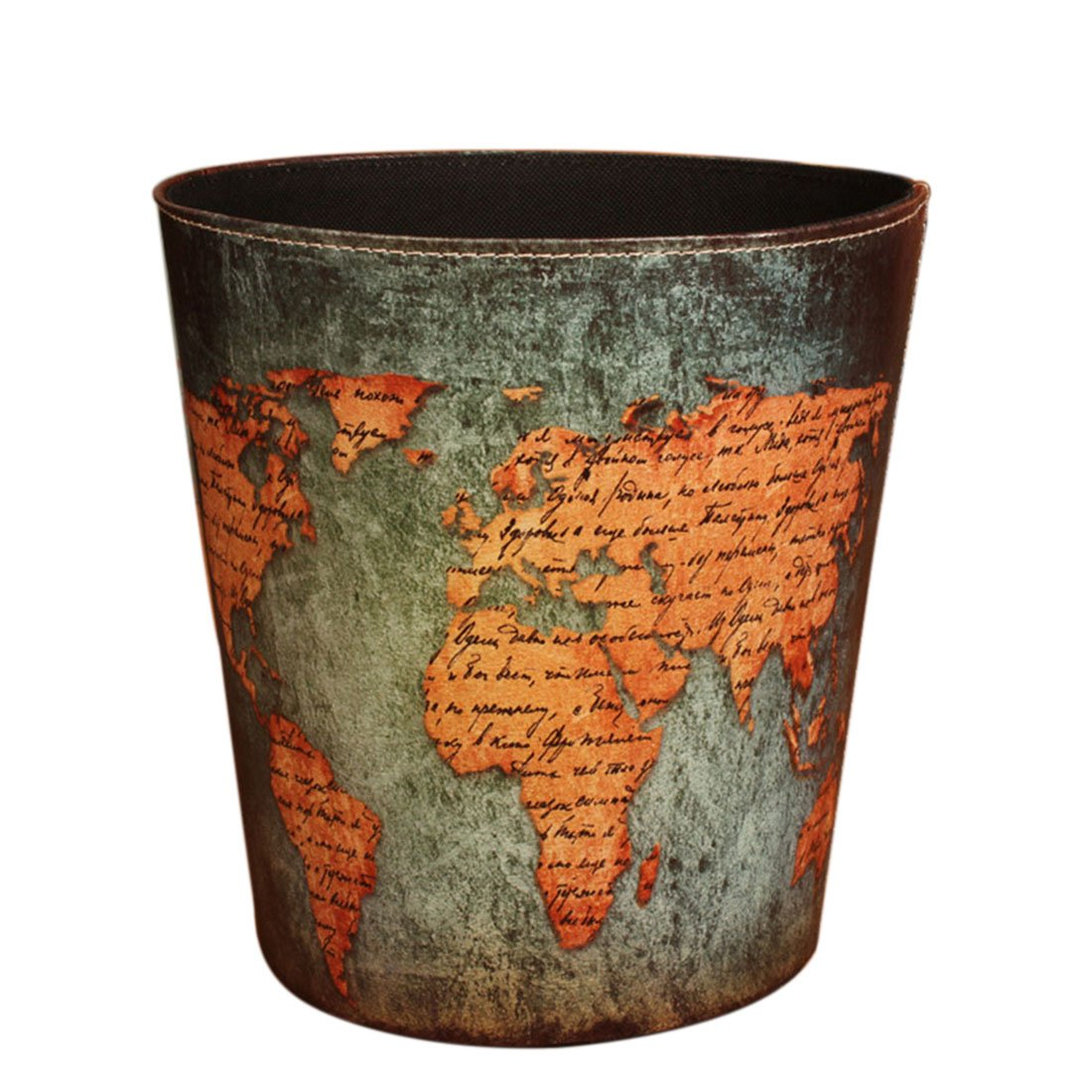 Wastebasket, Yamix Retro European Style Household Home Office Round PU Leather Waste Bin Paper Basket Trash Can Dustbin Garbage Bin Waste-paper Basket Ashcan Ashbin without Lid - World Map