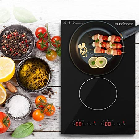 Dual 120V Electric Induction Cooker – 1800w Portable Digital Ceramic Countertop Double Burner Cooktop w Countdown Timer – Works w Stainless Steel Pan Magnetic Cookware – NutriChef