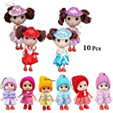 10 PCS Princess Dolls, Mini Doll Toys for 4 Year Old Baby Girl, Collection Surprise Gifts Little Barbie Toy, Cute Small Doll Decoration Keychain for Bag Colorful Phone Backpack Pendant Accessories