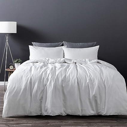 fad182cca6 Amazon.com: Dreamaker Luxury Soft 100% Washed Cotton Linen Quilt Duvet  Cover Bedding Set w/Pillowcase (Queen, White): Home & Kitchen