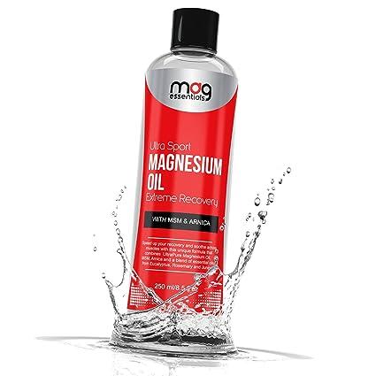 UltraSport - Aceite de magnesio de recuperación muscular con arnica, MSM y aceites esenciales.