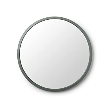 Umbra Hub Wall Mirror – 24 Inch Round Wall Mirror for Entryways, Washrooms, Living Rooms and More, Doubles as Wall Art, Spruce Rubber Frame