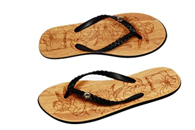 Ladies Wood Effect Sole Flip Flops Amazoncouk Shoes Bags