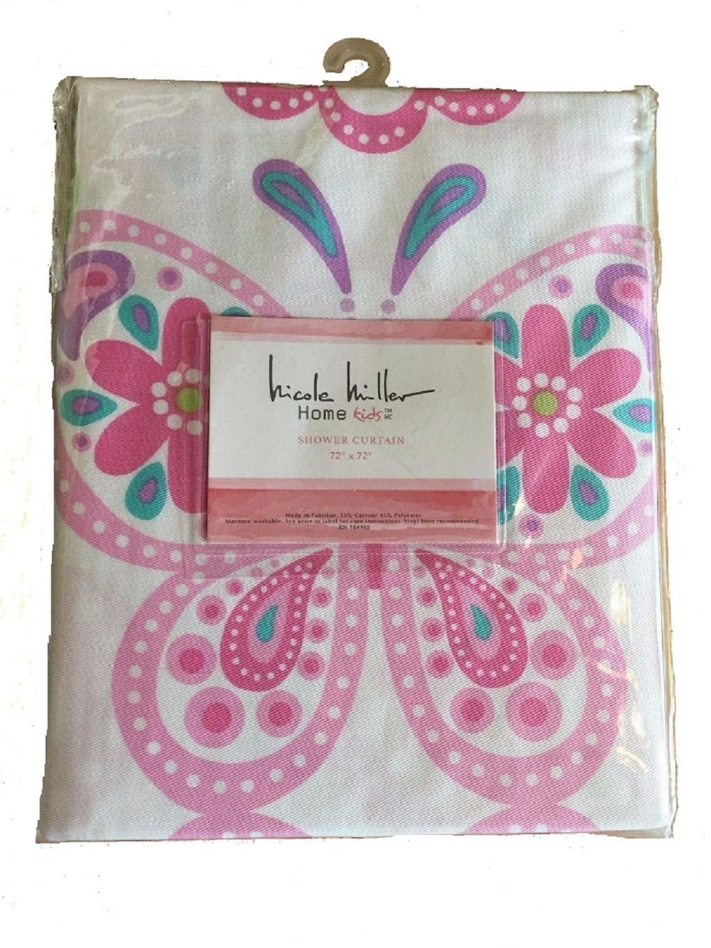 Nicole Miller Home Kids Floral Butterfly and Medallion Fabric Shower Curtain