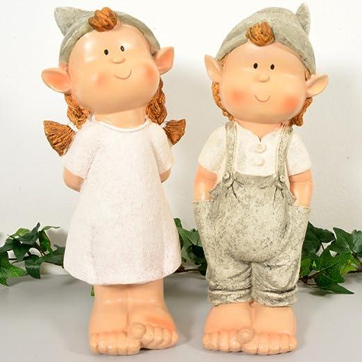 INtrenDU® Figuras Decorativas para jardín (25 cm), diseño de niña y niño: Amazon.es: Hogar