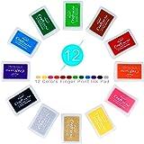 Pomisty Tinta Para Sello Tampón, Cojín de Tinta a Color de la Huella PorSorteo, Tarjetas de Felicitación de Bricolaje, Buen Regalo Para Los Niños (12 Colores)