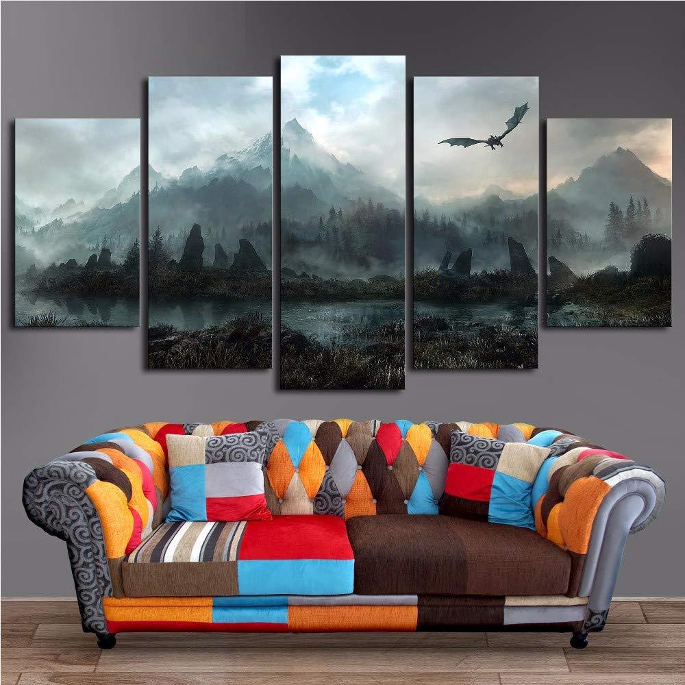 Meaosy Leinwand Wandkunst Bilder Home Decor 5 Stücke Drachen Skyrim Gemälde Für Wohnzimmer Modulare Drucke Plakatrahmen-20X35/45/55Cm