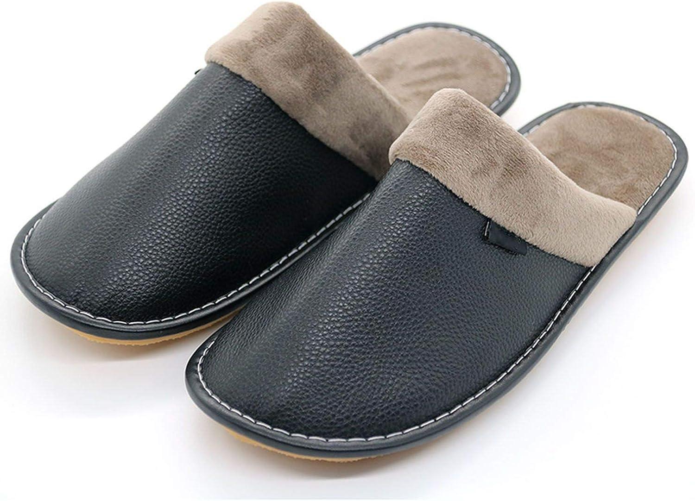 Winter Men Leather Cotton Slippers Soft PU Short Plush Flat Oxford Non-Slip Home Slippers