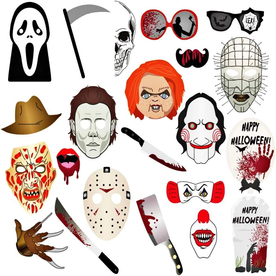 VANVENE 18pcs Halloween Photo Booth Props,Halloween Decorations for Halloween Party Photography Photo Booth Props Kit