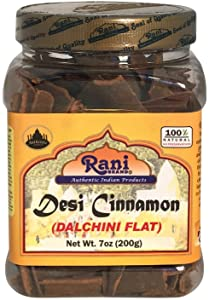 Rani Desi (Dalchini) Flat Cinnamon 7oz (200g) ~ PET Jar, Natural | Vegan | Gluten Free Ingredients | NON-GMO | Indian Origin