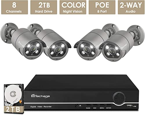 2TB Storage Techage PoE Starlight Color Night Vision CCTV Security Camera System, 8CH 5MP NVR Recorder with 4 2MP 1080P AI Weatherproof 2-Way Audio Surveillance Cams for Outdoor Indoor Monitoring