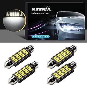Besbul 578 LED Bulb, 6411 LED Bulb Super Bright 4014-16SMD 40mm 41mm 42mm Festoon, 211-2 212-2 561 562 LED Dome Light, Map Lights, Trunk Lights Canbus Error Free White, Pack of 4