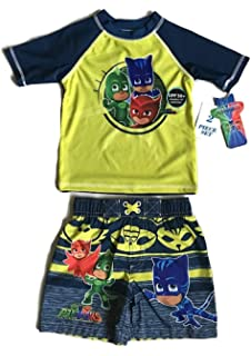 Dreamwave PJ Masks Toddler Boys Swim Trunks and Rash Guard Set, UVB 50+ UV