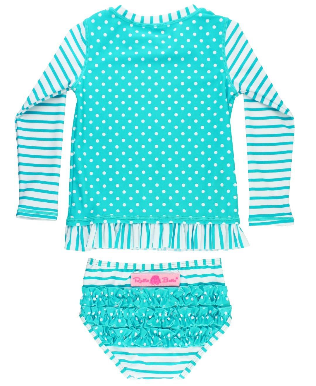 RuffleButts Little Girls Rash Guard 2-Piece Long Sleeve Swimsuit Set - Aqua Stripe Polka Dot UPF 50+ Sun Protection - 3T