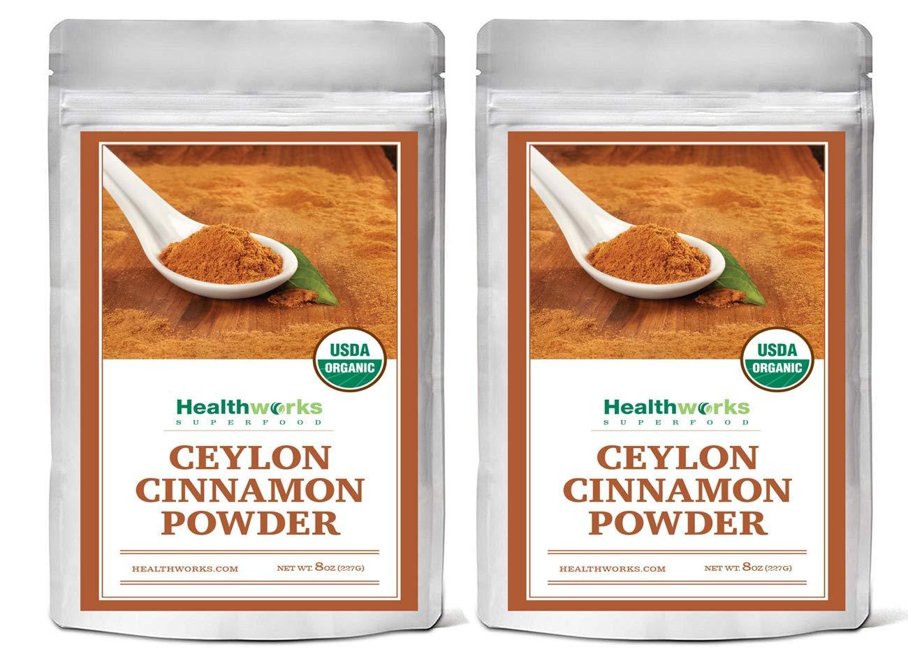 Healthworks Ceylon Cinnamon Powder Raw Organic, 1lb (2 8oz Packs)