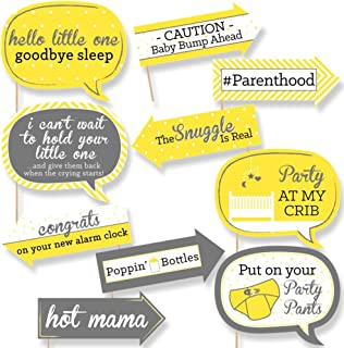 product image for Big Dot of Happiness Funny Yellow and Gray - Hello Little One - Baby Shower Photo Booth Props Kit - 10 Piece