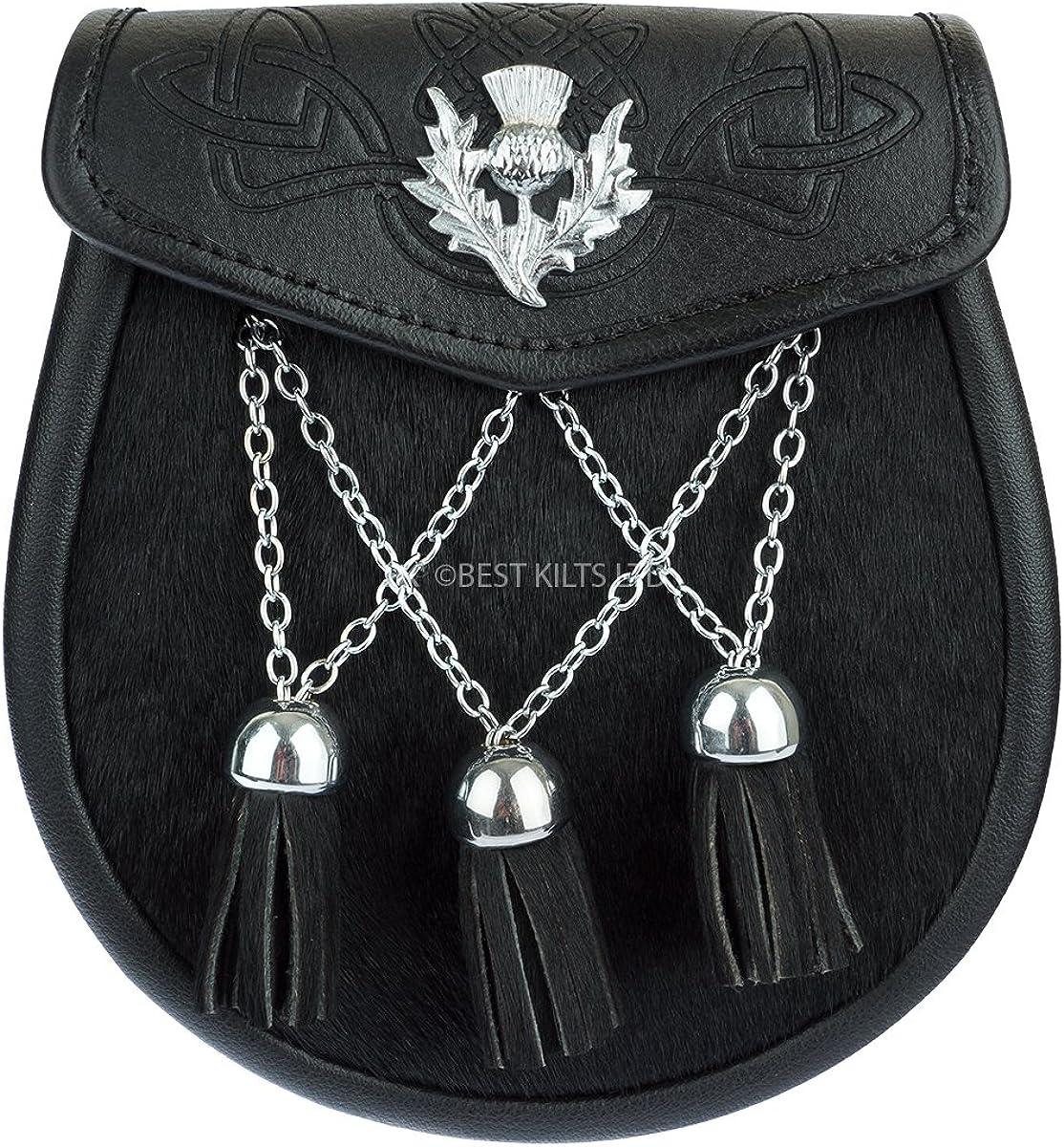 Demi-robe Sporran Noir Embossed Leather /& Black Cowhide Thistle Emblem