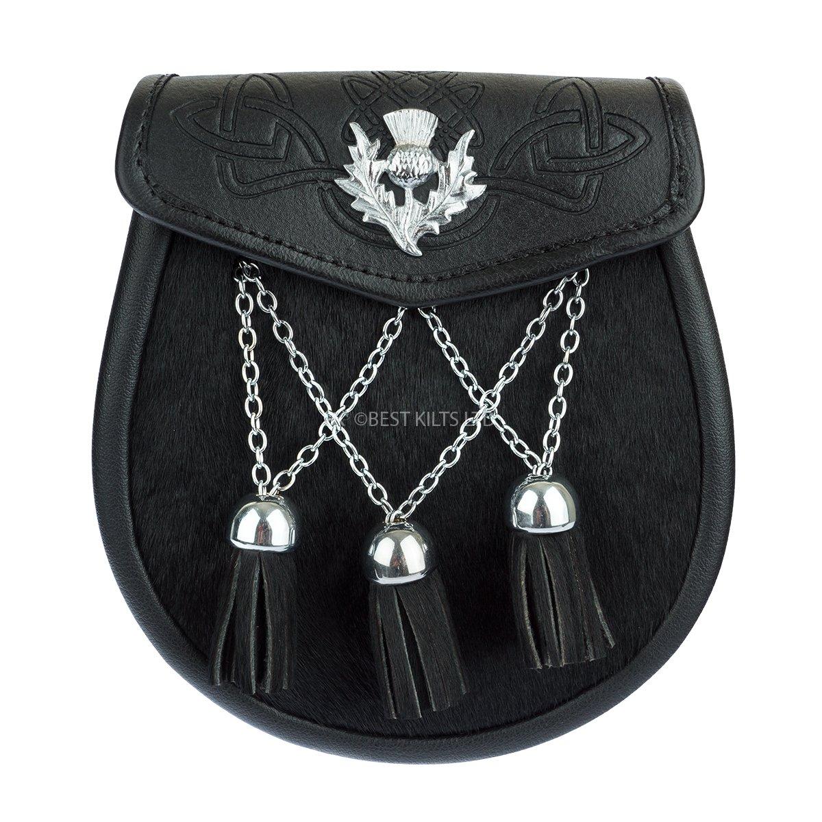 Semi Dress Sporran Black Embossed Leather & Black Cowhide Thistle Emblem