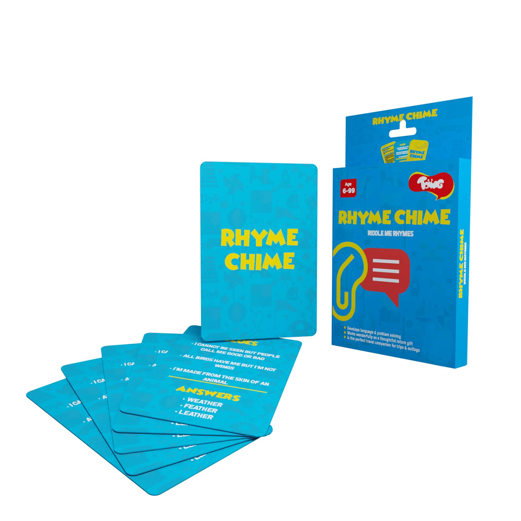 Toiing Rhyme Chime - Rhyming Riddles Card Game for Kids, Develops Vocabulary & Problem Solving, 6+ Years, Multi-Colour, T010010_UAE