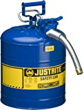"Justrite 7250330 AccuFlow 5 Gallon, 11.75"" OD x 17.50"" H Galvanized Steel Type II Blue Safety Can With 1"" Flexible Spout"