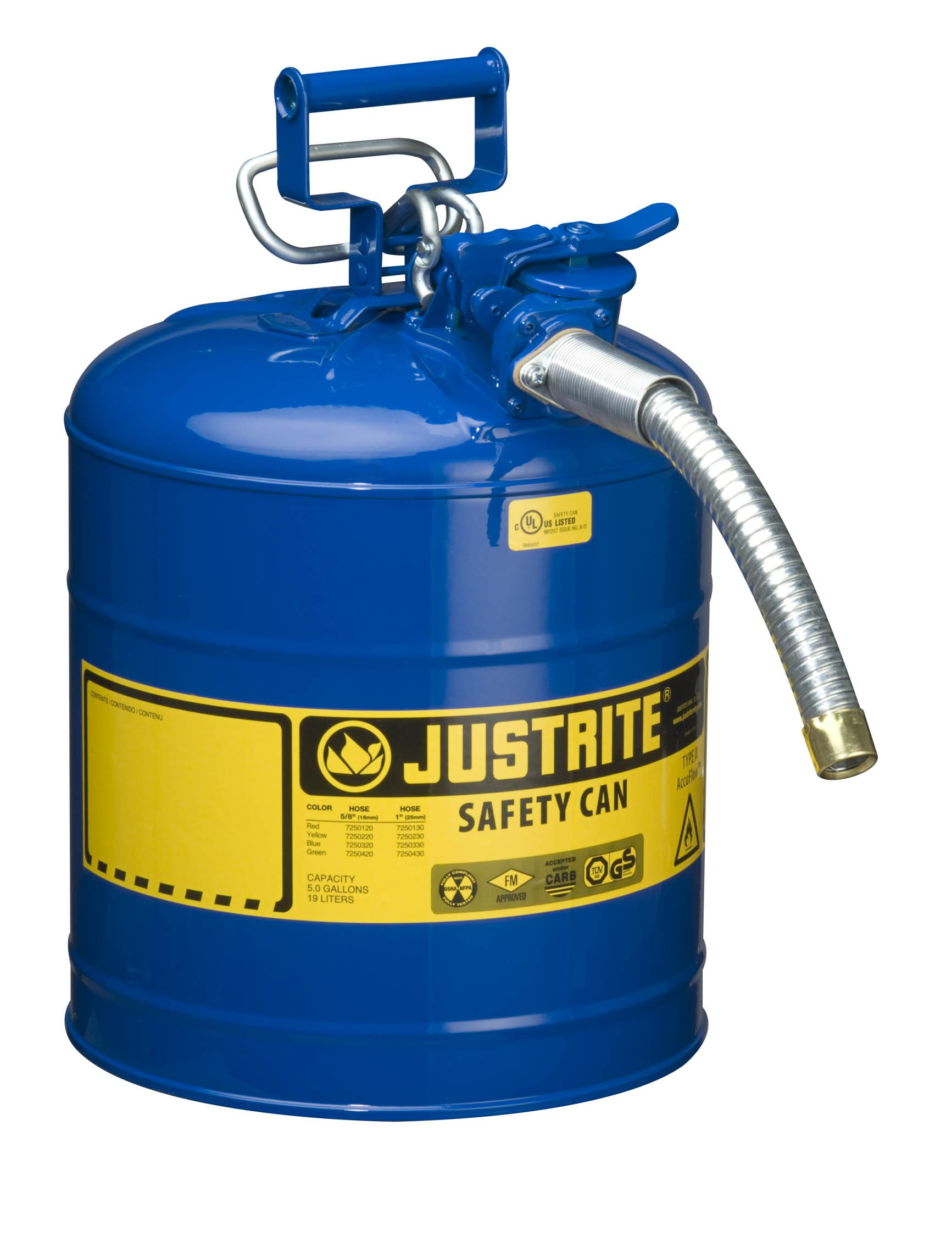 Justrite 7250330 AccuFlow 5 Gallon, 11.75'' OD x 17.50'' H Galvanized Steel Type II Blue Safety Can With 1'' Flexible Spout