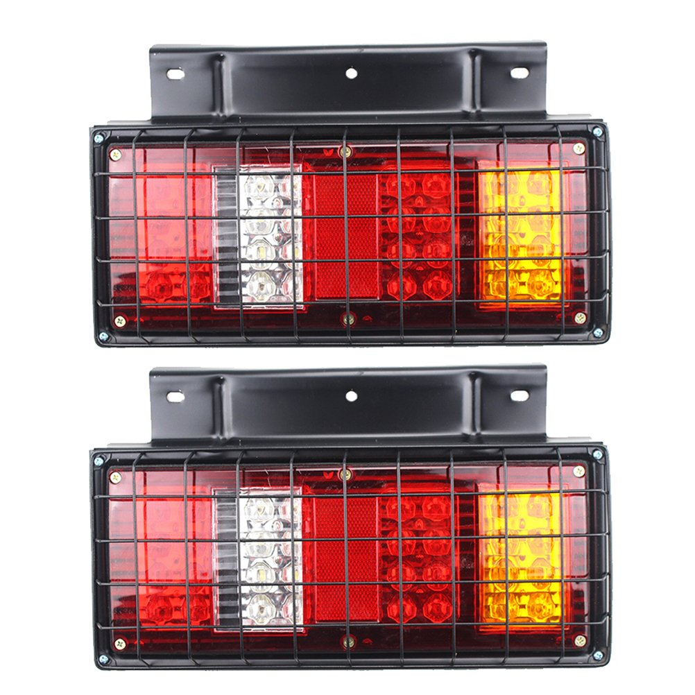 VORCOOL 32-LED 24V Multi-functional Tail Lights with Iron Net for Truck Trailer Caravan 2 PCS