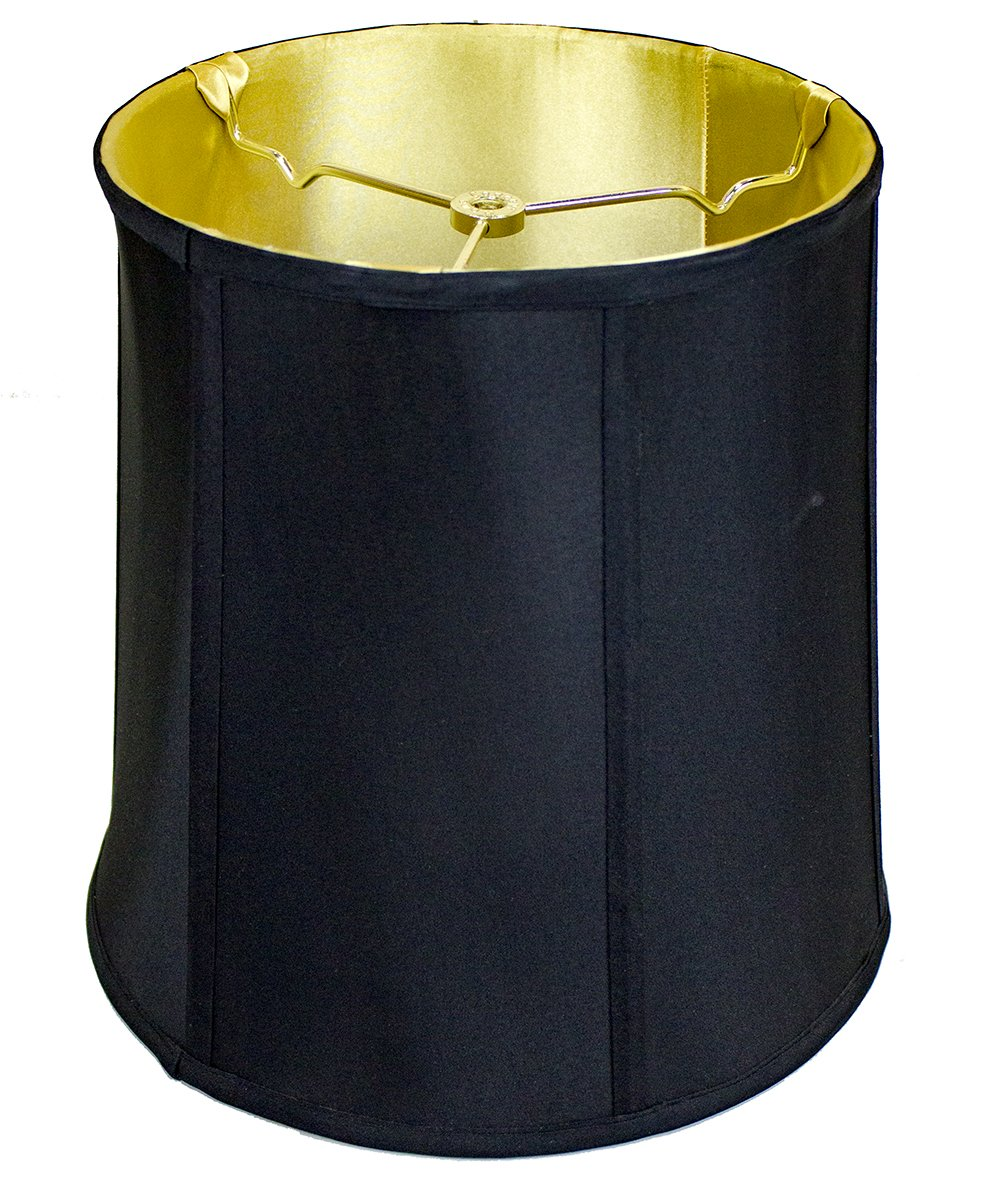 10x12x12 Black Shantung Fabric Lampshade with Brass Spider fitter By Home Concept - Perfect for table and desk lamps - Medium, Black