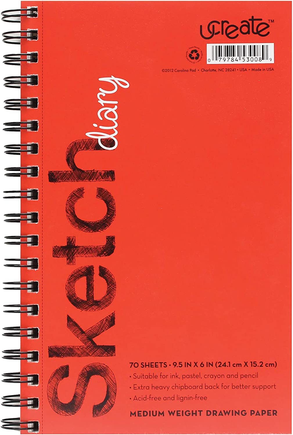 8.5 x 11 Pacon 4794 UCreate Sketch Diary 2 Pack 70 Sheets