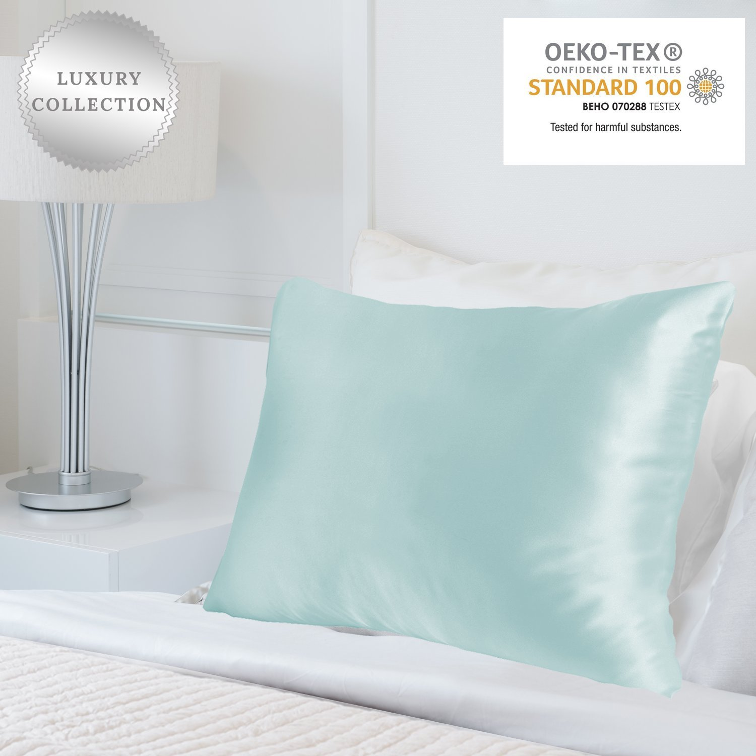 MYK 100% Natural Mulberry Silk Pillowcase, 25 Momme for Hair and Skin Care, Oeko-TEX, Hypoallergenic, Cooling, Queen, Light Blue