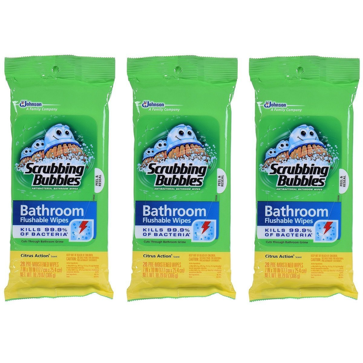 Scrubbing Bubbles Antibacterial Bathroom Flushable Wipes, 28 Count (Pack of 3)...