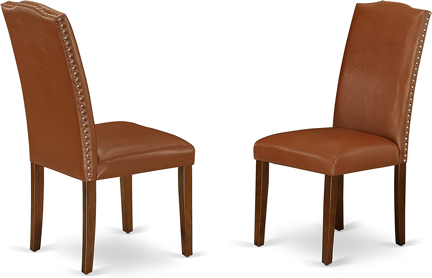 East West Furniture Padded Parson Chair Luxurious Brown Flaux Leather Hardwood Mahogany Finish Legs Modern Dining Room Chairs Set Of 2 Furniture Decor