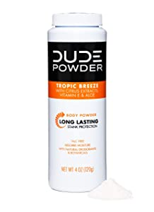 DUDE Body Powder, Tropic Breeze 4 Ounce Bottle Natural Deodorizers With Citrus Extracts & Aloe, Talc Free Formula, Corn-Starch Based Daily Post-Shower Deodorizing Powder for Men