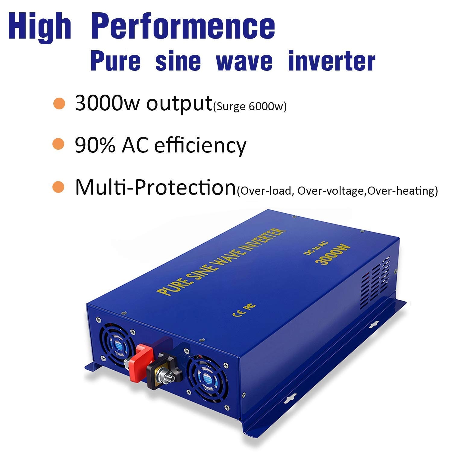 Xyz Invt 3000w Pure Sine Wave Power Inverter 12v Dc To Sinewave Generator Circuitcircuit Diagram World 120v Ac With 2 Outlets Set Of Battery Cables Converter For Home