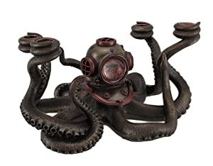 Veronese Resin Candelabras Incredibly Cool Steampunk Diver Octopus 4 Candle Candelabra 11.5 X 6.5 X 9.5 Inches Black
