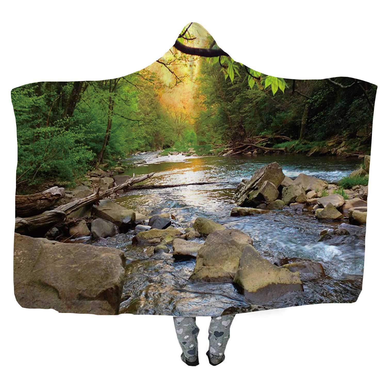 CUDEVS Mountain Trout Stream in Pennsylvania Fleece Soft Wearable Hooded Blanket,Microfiber Warm Winter Novelty Wearable Blanket,114492,60''x50''