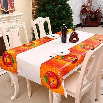 Amazon De Halloween Tischdecke Kurbis Totenkopf Tischlaufer