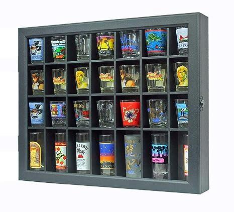 Shot Glass Display Case Shadow Box Cabinet Display Stand Black