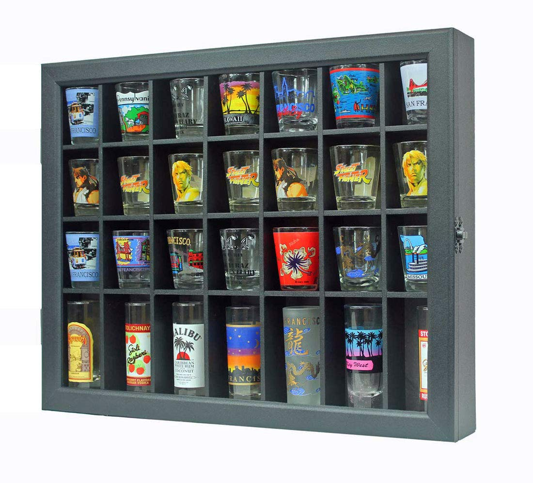 Shot Glass Display Case Shadow Box Cabinet Display Stand (Black)