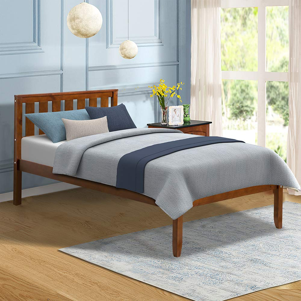 Romatlink Wood Platform Bed with Frame,12 Deluxe Solid Wood Platform Bed with Headboard Wood,100 Pine Wood Construction,Solid Wood Bed Frame,Secure Details Slat Support No Box Spring Nedded Twin