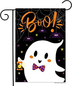 N/P Boo Ghost Halloween Garden Flags 12x18 Inch Vertical Double Sided Happy Halloween Yard Flag Banner for Lawn House Outdoor Halloween Decoration