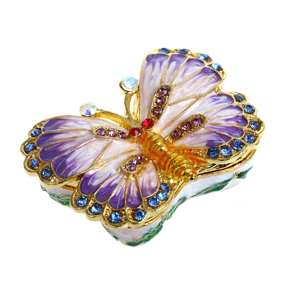 YUFENG Butterfly Trinket Box Hinged Small Jewelry Bejeweled Trinket Boxes Figurine Collectible Gift (trinket box ii)