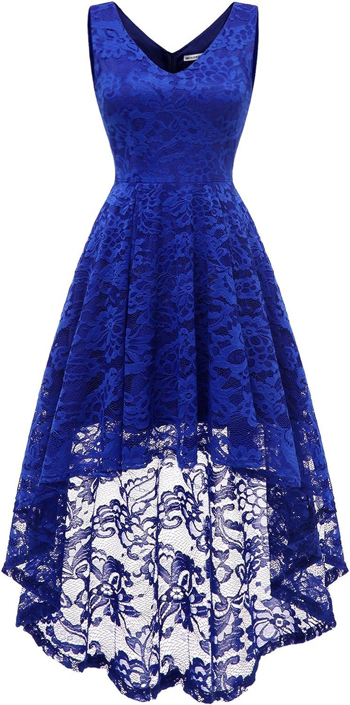 TALLA XL. MUADRESS Vestido Cóctel Sin Manga Cuello Y Espalda V Hi-lo Flor Encaje Elegante Mujer Azulreal XL